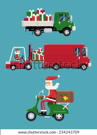 Vector modern creative concept design on christmas gifts shipment featuring Santa Claus loading a pile of gift boxes into cargo van, flatbed truck with pile of gifts and Santa riding delivery scooter - stock vector