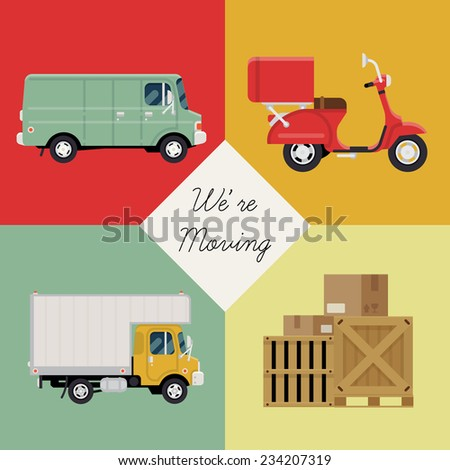 Vector modern creative concept design on logistics and shipping service with sample text featuring delivery scooter, moving truck, cargo van and shipping containers - stock vector