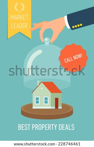 Vector modern creative concept design on real estate agency promotion  poster | Leaflet template on best