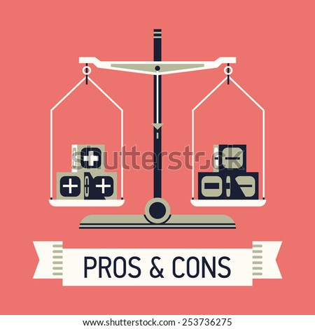 Vector modern creative flat concept design on choice and decision making with positive and negative arguments | Abstract illustration on pros and cons with balance scales and ribbon with sample title  - stock vector