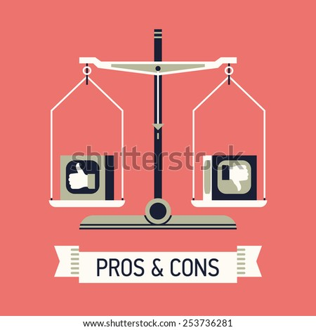 Vector modern creative flat concept design on decision making process with like and dislike analyzing | Abstract illustration on pros and cons with balance scales and ribbon with sample title  - stock vector