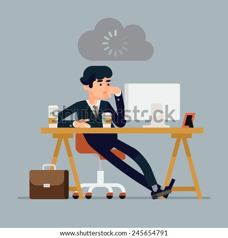 Vector modern creative flat design illustration on tired businessman at work | Bored office worker procrastinating behind his desk | Person at work waiting to be inspired to manage daily tasks - stock vector