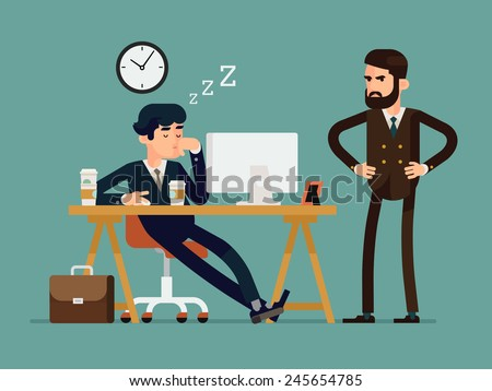 Vector modern creative flat design illustration on tired businessman at work | Exhausted office worker sleeping behind his desk while angry director is standing next - stock vector