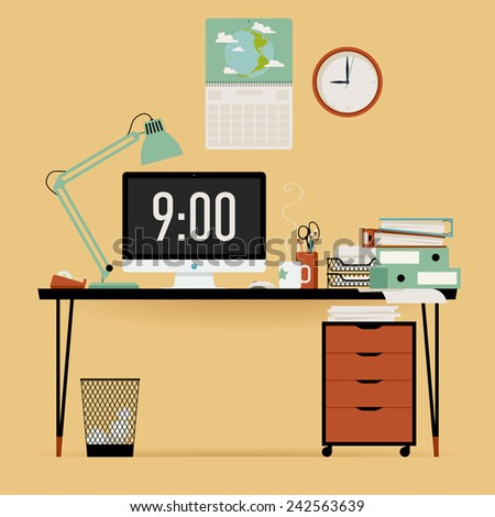 Vector modern creative flat design office stock vector for Table flat design