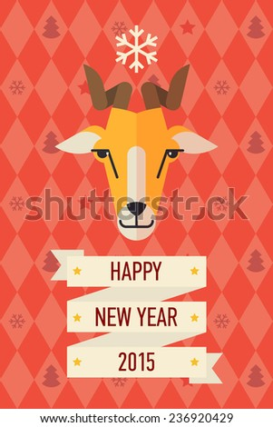 Vector modern creative flat design on new 2015 year symbol goat | Goat face with horns in happy new year greeting decoration template - stock vector