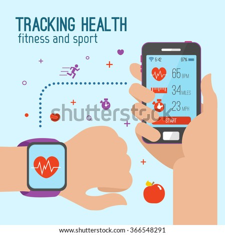 Vector modern creative infographics design on modern high tech devices using in everyday life showing man tracking his health condition with smart bracelet, mobile application and cloud services - stock vector