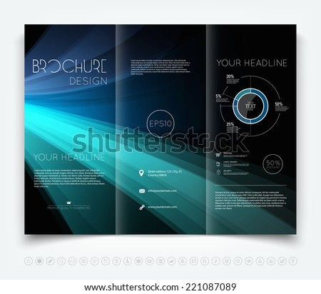 Vector modern dark tri-fold brochure design template with colorful blue smooth light beams background - stock vector
