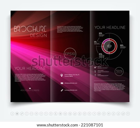 Vector modern dark tri-fold brochure design template with colorful purple smooth light beams background - stock vector