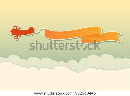 Vector modern design for flying advertising banners. Retro red plane with yellow banner above the clouds. - stock vector