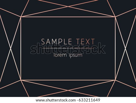 Vector modern design template for wedding or birthday invitation, brochure, poster or business card. Art Deco geometric rose gold pattern