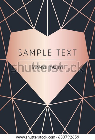 Vector modern design template for wedding or birthday invitation, brochure, poster or business card. Black background with geometric heart pattern. Rose gold.
