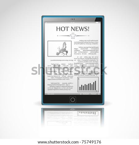 vector modern e-reader illustration.