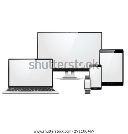 Vector Modern Electronic Devices Set - stock vector