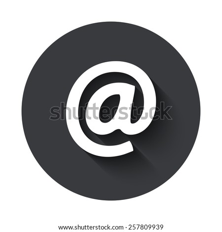 Vector modern email gray circle icon on white background - stock vector
