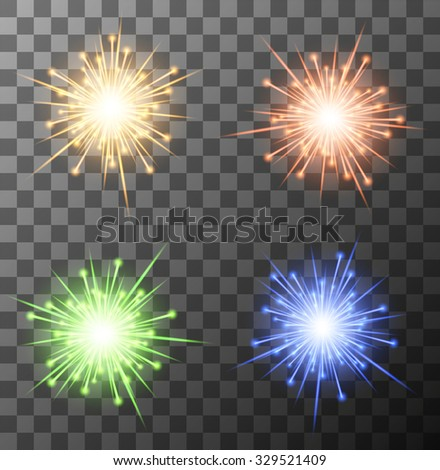 Vector modern fireworks set on sample background. Eps10 - stock vector