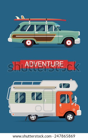Vector modern flat banner design on best summer holidays, beach recreation, surfing, sight seeing, camping, caravan trip and tourism for travel agency online marketing - stock vector