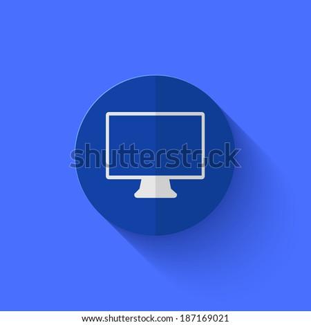 Vector modern flat blue circle icon. Eps10 - stock vector