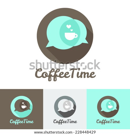 Vector modern flat coffee shop, cafe or restaurant logo set - stock vector