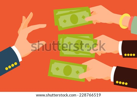 Vector modern flat concept design on multiple hands offering money and one hand picking | Stylish minimalistic flat illustration on hands holding cash - stock vector