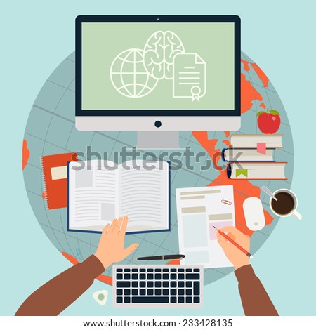 Vector modern flat concept design on online training process | Creative illustration on e-learning process featuring human hands, book, test blank, personal desktop computer and more, top view - stock vector