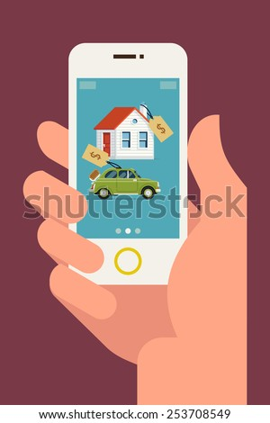 Vector modern flat concept web banner design on hand holding mobile phone with realty and car sales marketplace application featuring house and small classic city car icons with price tags  - stock vector