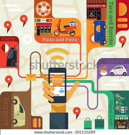 Vector modern flat creative info graphics design on public services application (delivery food). Male hand holding phone with service application. - stock vector