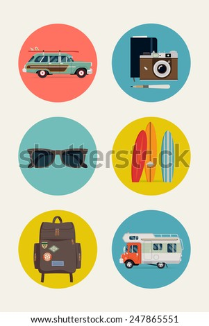 Vector modern flat design circle web icons set on best summer vacation activities with surf car, retro camera with pencil and sketch field notes book, sunshades, backpack, surfboards and caravan car - stock vector