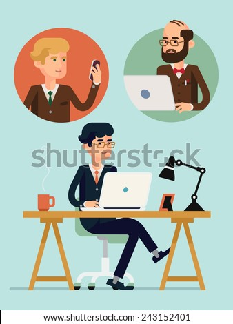 Vector modern flat design creative concept illustration on connectivity and team working in business and industry | Businessmen having video conference using their mobile devices - stock vector