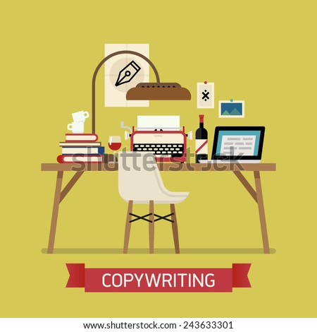 Vector modern flat design creative illustration on copywriting | Copywriter workspace icon with typewriter, laptop, bottle of wine, pile of books and more - stock vector