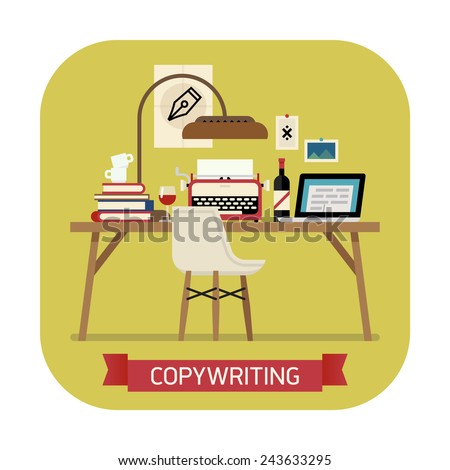 Vector modern flat design creative round corners icon on copywriting | Copywriter workspace icon with typewriter, laptop, bottle of wine, pile of books and more - stock vector
