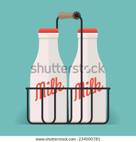 Vector modern flat design illustration featuring pair of classic milk bottles in wire carrier - stock vector
