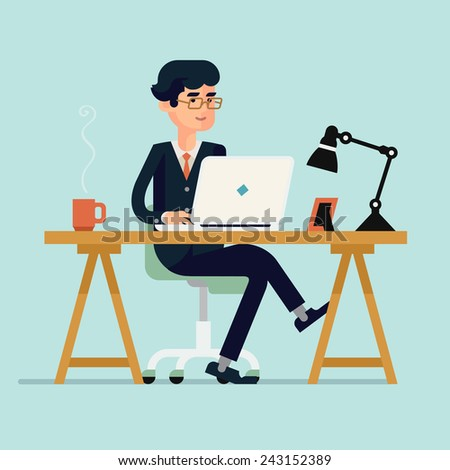 Vector modern flat design illustration on businessman character working with laptop featuring office table with work lamp, coffee mug, and photo frame - stock vector