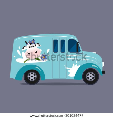 Vector modern flat design illustration on dairy milk delivery service  local delivery truck