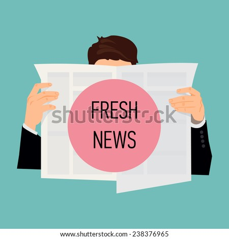 Vector modern flat design illustration on male human reading news | Man holding newspaper with his face hidden - stock vector
