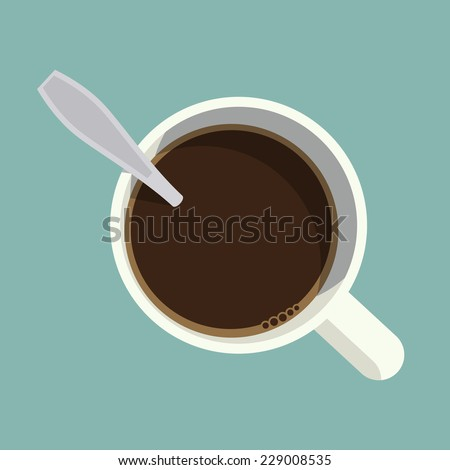 Vector modern flat design illustration on mug with black coffee an spoon in it, top view  - stock vector