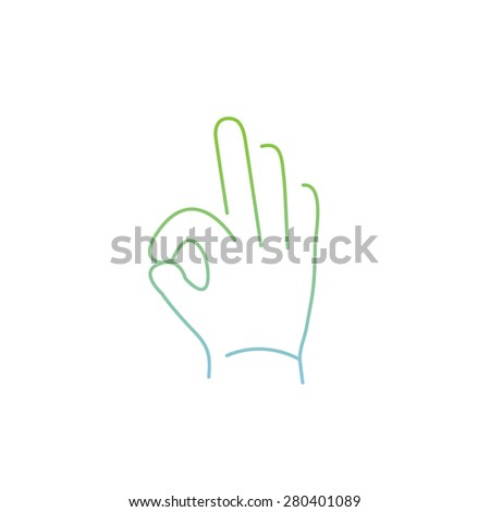 vector modern flat design linear icon of okay hand gesture | thin line pictogram with green and blue gradient isolated on white background - stock vector