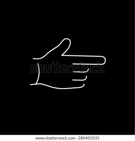 vector modern flat design linear icon of point finger hand gesture | white thin line pictogram isolated on black background - stock vector