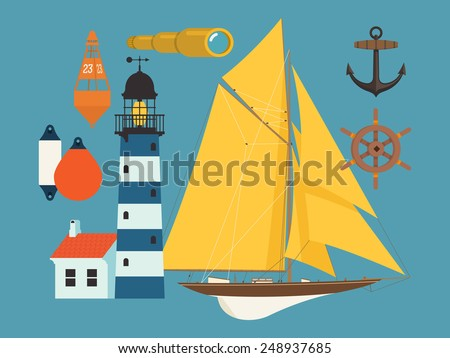Vector modern flat design nautical maritime items featuring lighthouse, spyglass, lifebuoy and sailing yacht - stock vector