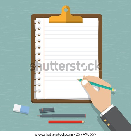 Vector modern flat design on hand holding pencil with empty sheet of paper . Classic brown clipboard with blank white paper. Vector. Illustration. - stock vector