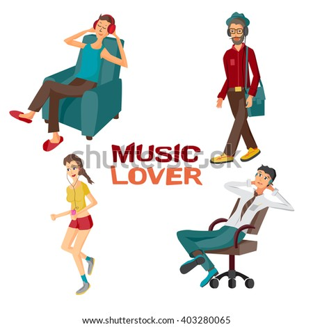 Vector modern flat design people wearing headphones listening music. Cartoon character of music lovers enjoying his favorite track. Music lovers in different situations: home, office, street - stock vector