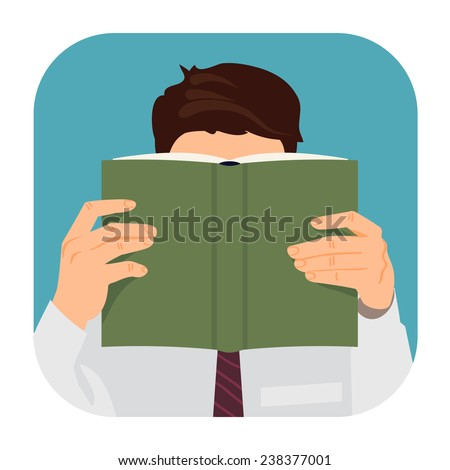 Vector modern flat design rounded corners square icon on man reading book with empty green cover | Male character with face hidden behind the book in his hands - stock vector