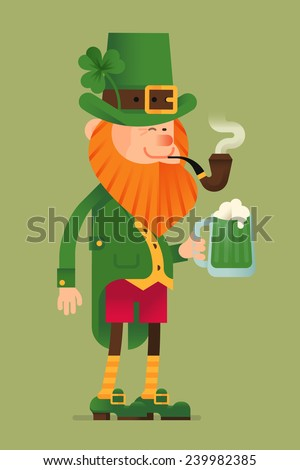 Vector modern flat design Saint Patrick's day cartoon character leprechaun standing full length, smoking pipe and holding pint of green beer, isolated - stock vector