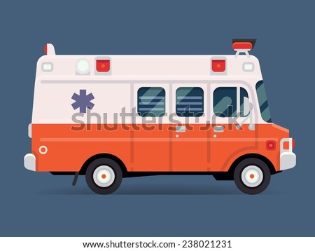 Vector modern flat design special vehicle icon on white and red ambulance van, isolated | Emergency paramedic car symbol, side view - stock vector