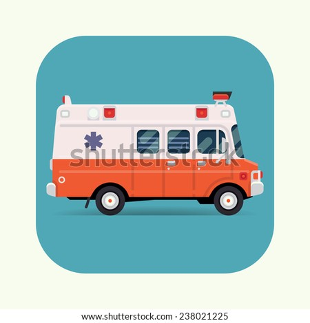 Vector modern flat design special vehicle icon on white and red ambulance van, rounded corners | Emergency paramedic car symbol, side view - stock vector