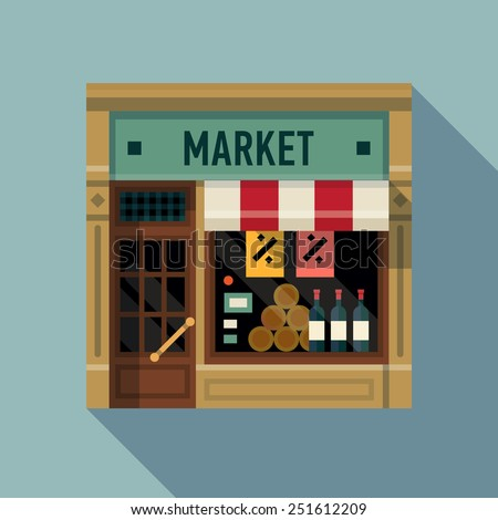 Vector modern flat design square architecture web icon on retro style local grocery market shop store facade with awning and goods and products exposed in window - stock vector