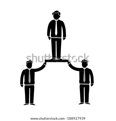vector modern flat design support and cooperation in team soft skills icon black isolated on white background - stock vector