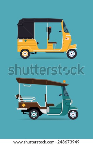 Vector modern flat design transport vehicle icons on exotic destination oriental countries baby taxi auto rickshaw tuk tuk three wheeler tricycles  - stock vector