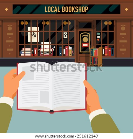 Vector modern flat design web banner or printable poster template on man reading book in front of vintage bookshop facade. Hands holding opened book with retro book store front on background - stock vector