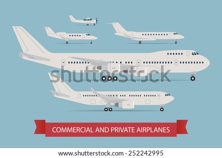 Vector modern flat design web icons on flying commercial and private personal transport passenger jet and single engine air planes, airliner, business jet, jumbo jet, side view, isolated - stock vector