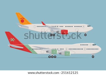 Vector modern flat design web icons on parked commercial transport passenger jet airliner planes, narrow body and double deck wide body, flat design, side view, isolated - stock vector